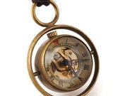 Steampunk Skeleton Watch Orb Necklace - Sphere and Gear Pocketwatch Ball Pendant