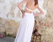 White Vintage Halter Boho Wedding Festival Dress