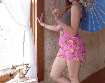 Pink Side Zip Floral High Waist Shorts
