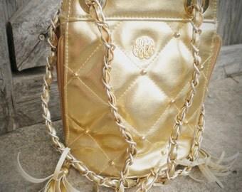 Vintage Quilted Gold Handbag