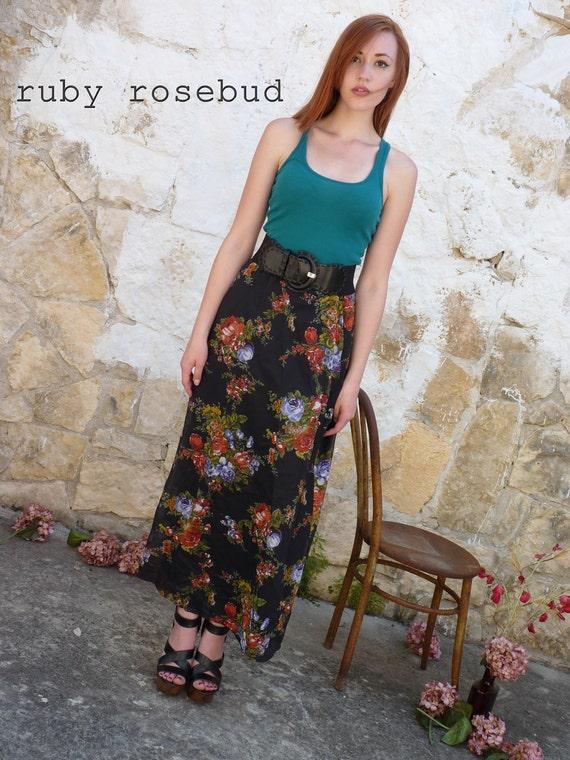 Long Floral Roses Maxi Skirt