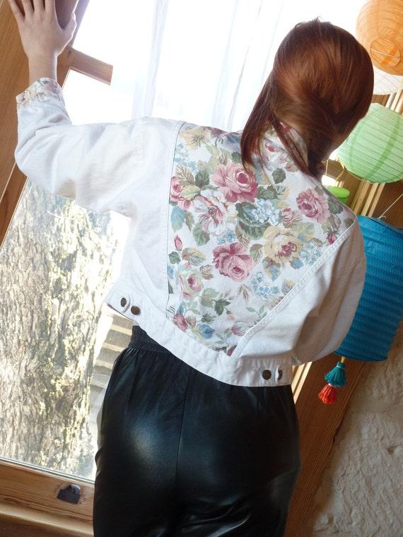 Vintage 80's White Denim Roses Cropped Jean Jacket