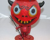 Vtg Halloween Glass and Metal Devil Candle Holder with Pitch Fork