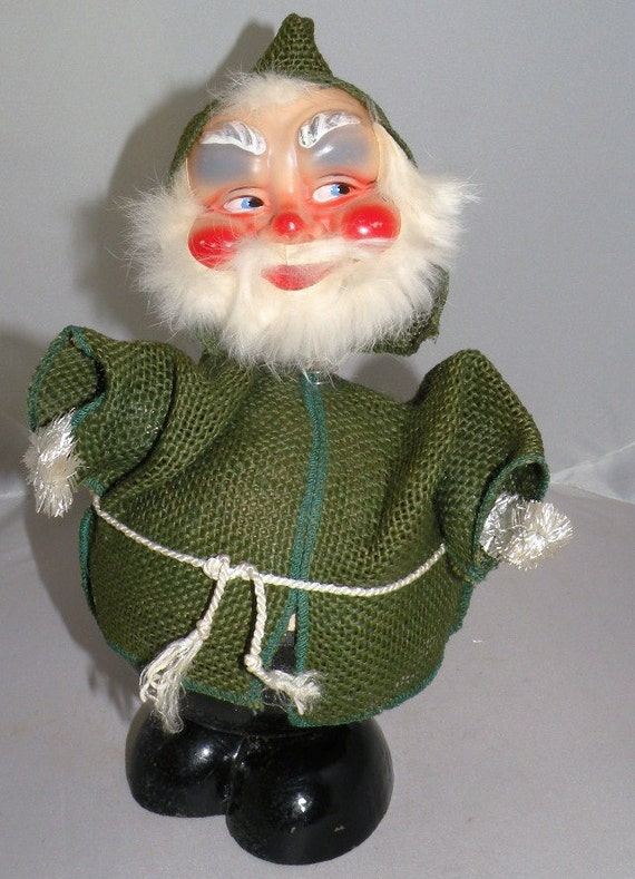 1950s Large NODDER German SANTA Candy Container Marked Western Germany Celluloid Face