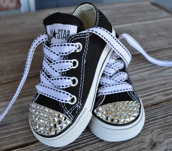 Swarovski Crystal Embellished Infant Toddler Childrens All Star Converse- Black
