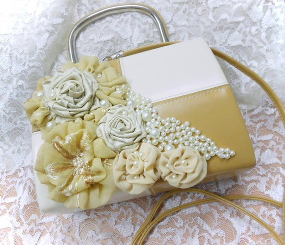 Ecru and Beige vintage purse bag decorated with hand made chifon flowers and pearls.