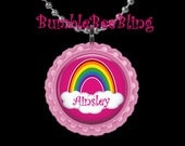 Rainbow Pretty Pink Personalized Pendant Necklace Key Chain or Zipper Pull