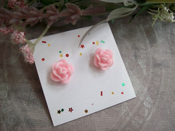 Perfectly Pink Rose Surgical Steel Post Earrings