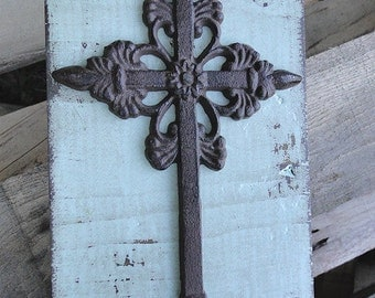 Cross, Large Distressed Block Art