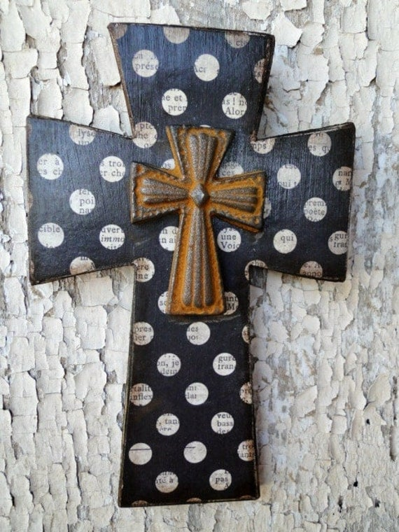 Wooden Distressed Cross with Vintage Polka Dot Paper Design