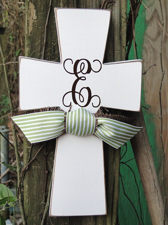 Monogram Wooden Distressed Cross with Celery Green Stripe and Burlap  Ribbon