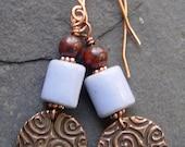 Handmade Copper Discs, Stoneware and Red Jasper Earrings