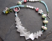 Easter - Soft Pastels - Lampwork and Fiber Optic Handmade Necklace