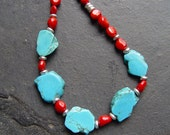 Land and Sea - Turquoise Slab with Coral and Silver Necklace