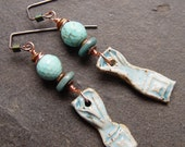 Rustic - Turquoise and Rustic Teal Danglies Earrings