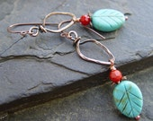 Carved Turquoise Leaves, Faceted Red Coral and Hand Forged Copper Earrings