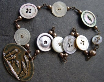 Where Gulls Fly - Antique Mother of Pearl Buttons, Porcelain Pendant and Glass Pearls Necklace