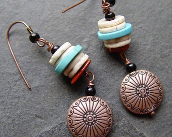 Apache  - Turquoise, Ostrich Eggshell and Copper Earrings