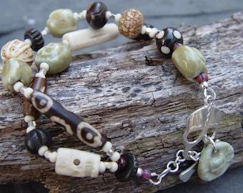 Sunken Treasure - Porcelain Pirates, Skulls, Crossbones, Bone Beads and Sterling Silver Bracelet
