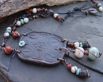 Mound Builders - Native Arizona Clay, Turquoise, Jasper, Lava and Stoneware Tribal Necklace