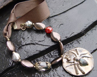 Bronze Widow - Porcelain, Smokey Quartz, Glass and Ribbon Necklace