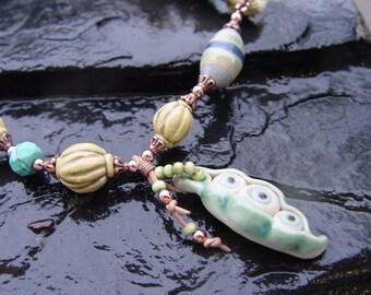 Eyepod - Artisan Pendant and Beads, Sari Silk and Copper Necklace Handmade