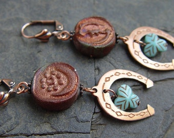 Lucky Shoes - Raku Beads, Copper Horseshoes and Glass Bead Earrings