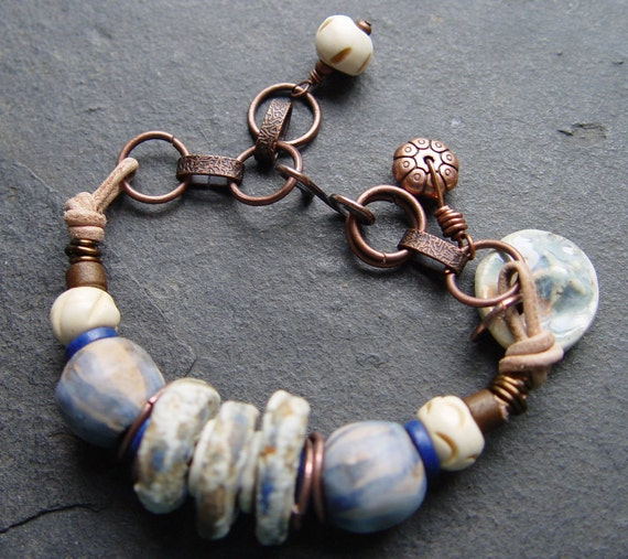 Indian Creek - Stoneware, Leather and Chain Bracelet