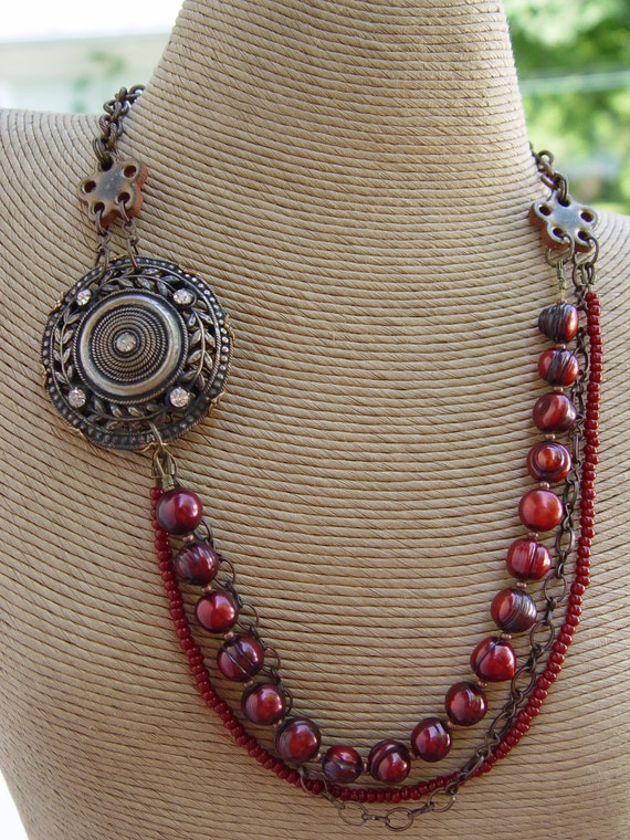 Queen Ann Bolin - Antique Button Focal, Oxblood Red Pearls and Brass Chain Necklace