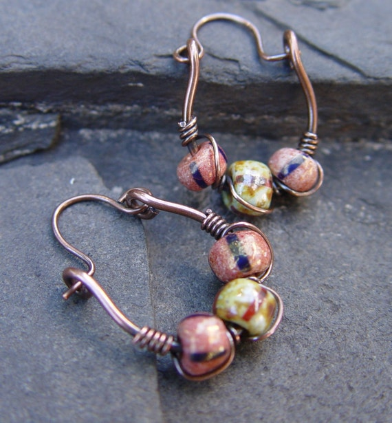Trapeze - Antique Brick and Desert Sands Luster Glass Beads on Copper Swings Earrings