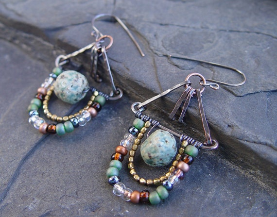 Beaded Buckets - Handmade Porcelain, Copper, Brass and Glass Long Dangle Earrings Gypsy Bohemian