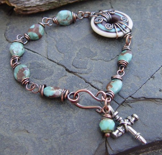 Tucson Lampwork and Turquoise Magnesite Gemstone and Copper Wire Worked Bracelet