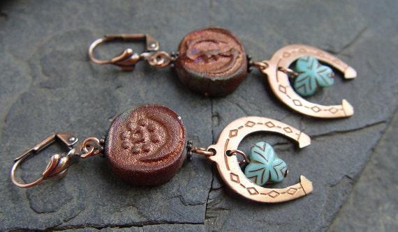 Lucky Shoes - Raku Beads, Copper Horseshoes and Glass Bead Earrings