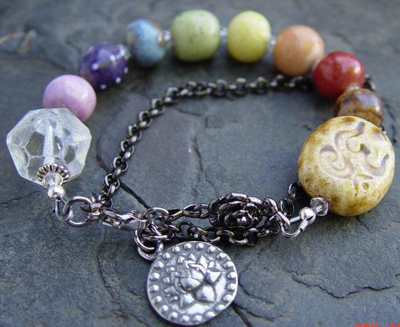 Meditation -- Om Chakra Porcelain Beads Rainbow Pewter Lotus Om Charm Gunmetal Handmade Bracelet