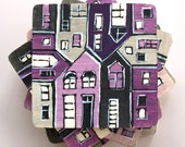 wood tile coasters hand painted lilac grey