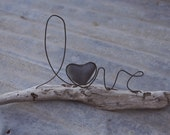 LOVE wire word and heart stone on driftwood sculpture WEDDING gift or decor