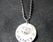 Mom's necklace, Hand Stamped, Custom with chain