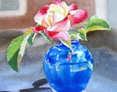 Garden Rose Original Painting 10x8 Realism In Watercolor Of Rose In The Blue Vase