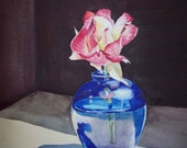 Rose Art - Pink Rose in The Blue Vase - Watercolor by Irina - 5x7 Print