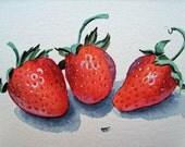 Strawberry Art Original Painting Strawberries  -  Watercolor Painting - 5 x 7 inches