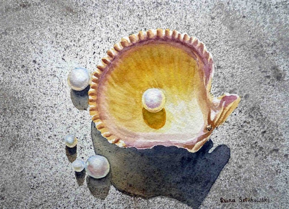 Sea Shell and Pearls Original Painting - Art - Watercolor Painting by Irina - 5 x 7
