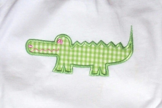 Girls size 24 months Personalized Monogrammed Applique Gingham Short Set Alligator