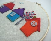 A Room with a View - felt houses-hand embroidered details