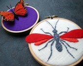 Wasp and Butterfly hand embroidered hoop art home decor wall decoration red orange purple by mlmxoxo