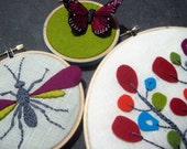 Hoop Art. Hand Embroidery.Tree. Wasp. Butterfly. home decor. housewarming gift. wool felt. nature lover's gift. hand embroidered by mlmxoxo