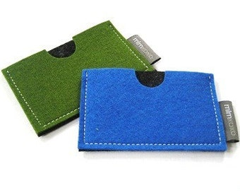 Card case in pure wool felt, business card holder, credit card case, unisex, blue, green, gray, magenta, red, orange felt holder, mlmxoxo