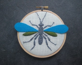 "Wasp by mlmxoxo.  embroidered 4"" hoop art. wall wear. steampunk. children's room decor. housewarming gift. nature lover's gift.  applique."