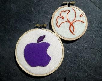 Apple & Ginkgo. hand embroidered. hoop art. home decor. teacher's gift. housewarming. office cubicle decor. wall wear. handmade by mlmxoxo