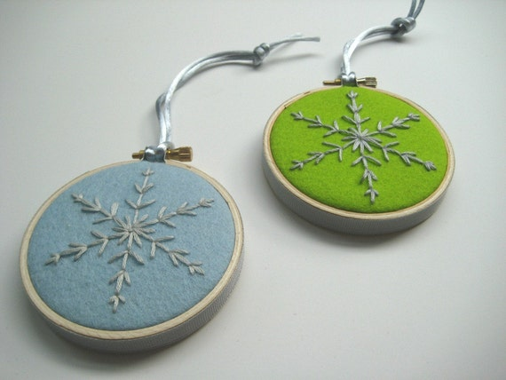 20% off Snowflake Ornaments - two hand embroidered snowflakes in 3 inch hoops.  Baby Blue & Citrine