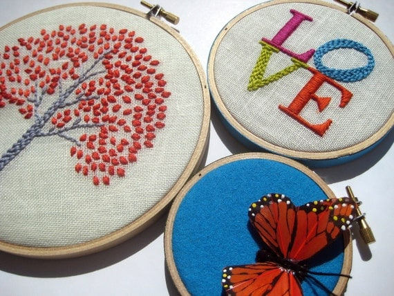 hand embroidered Orange Tree,  LOVE and Butterfly Hoop Art (3 pieces)